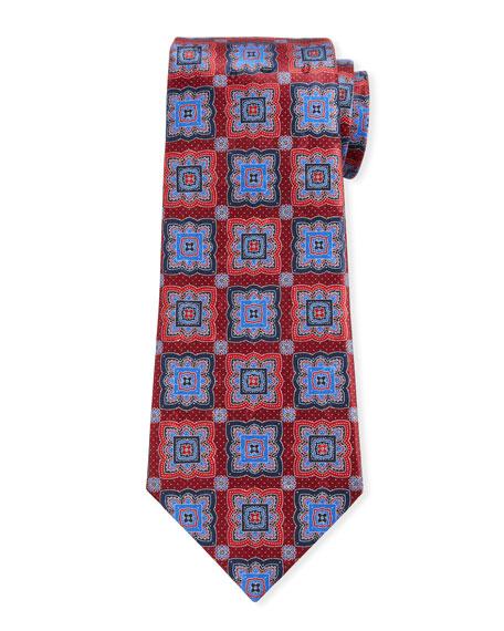 Ermenegildo Zegna Men's Medallion-Print Silk Tie, Red