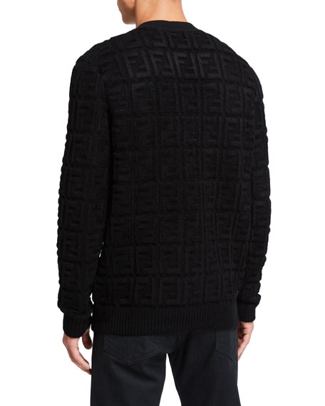 Fendi Men's Chenille Embossed FF Logo Crewneck Sweater