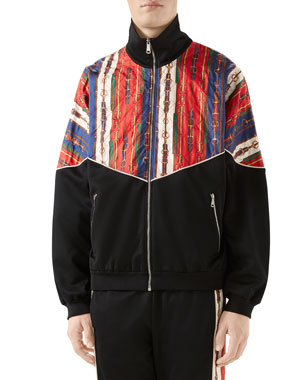 b56d7291dd896 Gucci Men s Chain-Print Technical Jersey Track Jacket