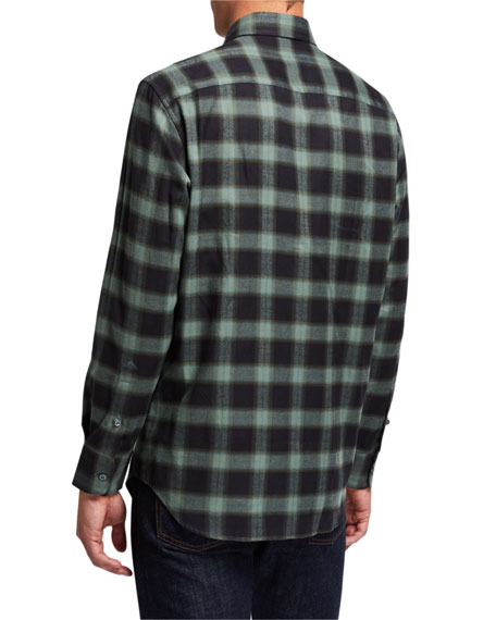Image 2 of 3: Brioni Men's Loden Plaid Sport Shirt