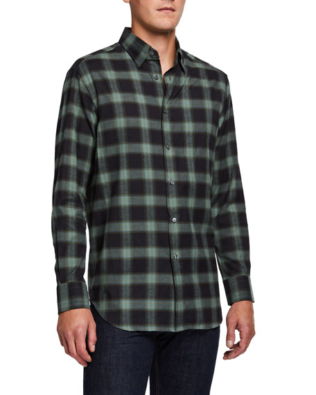 Image 1 of 3: Brioni Men's Loden Plaid Sport Shirt