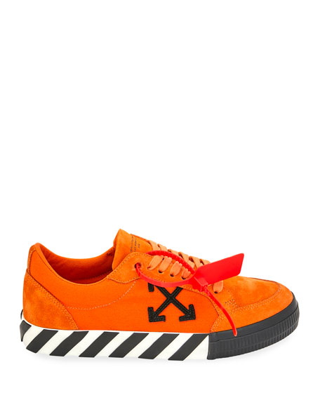Off-White Men's Arrow Suede Sneakers with Stripes