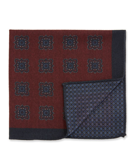 Ermenegildo Zegna Men's Reversible Wool Pocket Square, Burgundy
