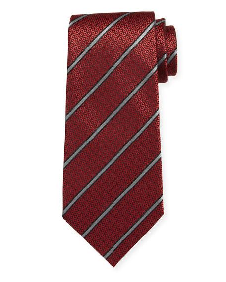 Ermenegildo Zegna Tonal Circle Stripe Silk Tie