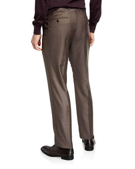 Image 2 of 3: Ermenegildo Zegna Men's Trofeo Wool Flat-Front Trousers