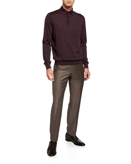 Image 3 of 3: Ermenegildo Zegna Men's Trofeo Wool Flat-Front Trousers