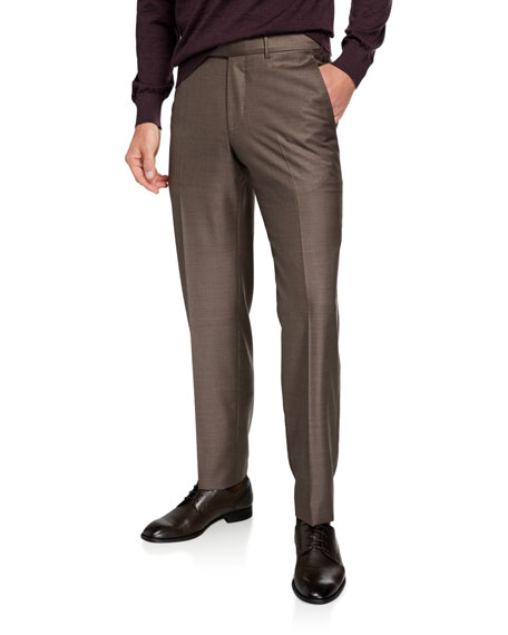 Image 1 of 3: Ermenegildo Zegna Men's Trofeo Wool Flat-Front Trousers