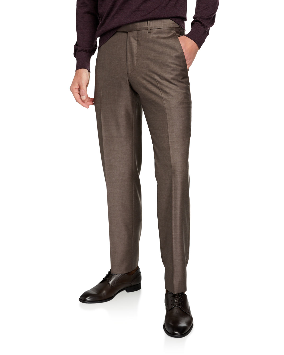 Men's Trofeo Wool Flat Front Trousers by Ermenegildo Zegna