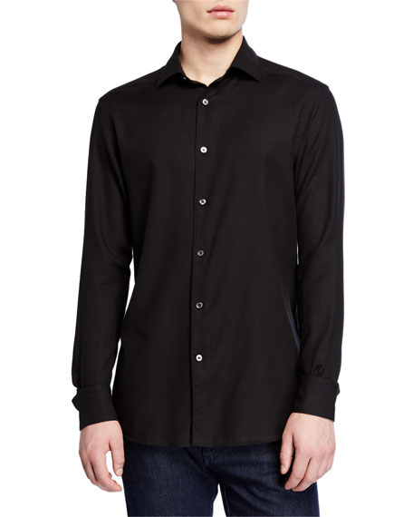 Ermenegildo Zegna Men's Cashmere Twill Sport Shirt