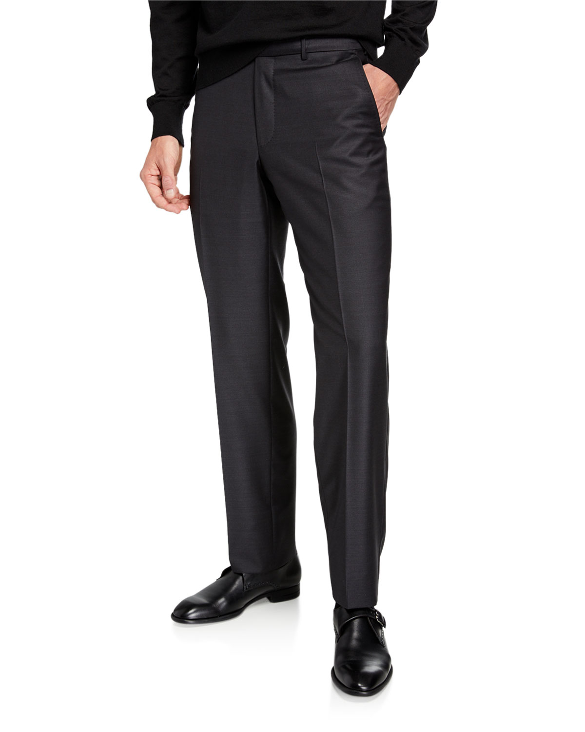 Men's Twill Straight Leg Trousers by Ermenegildo Zegna