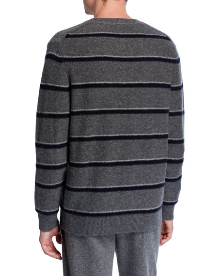 Image 2 of 2: Vince Men's Striped Cashmere Crewneck Sweater