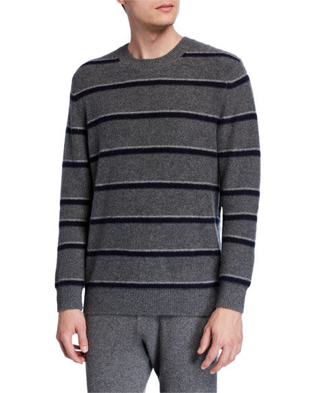 Image 1 of 2: Vince Men's Striped Cashmere Crewneck Sweater