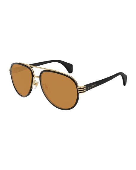 Gucci Men's Two-Tone Aviator Sunglasses