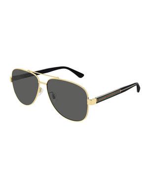 eb66a241804d6 Gucci Men s Signature Web Metal Aviator Sunglasses