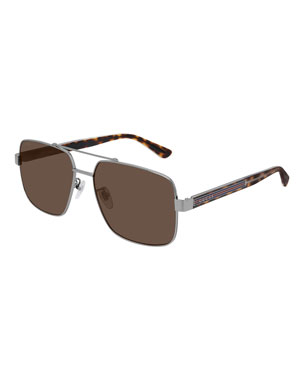 93982e8f454 Gucci Men s Tortoiseshell Sunglasses with Signature Web