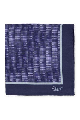 Premier Mens Woven White//Mauve Handkerchief