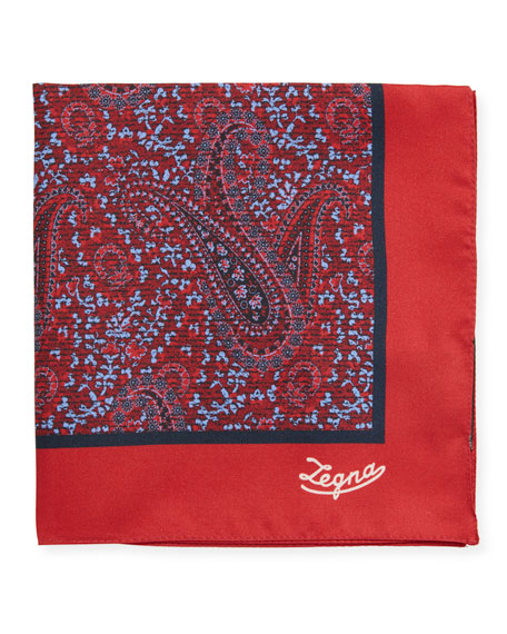Ermenegildo Zegna Antique Paisley Silk Pocket Square