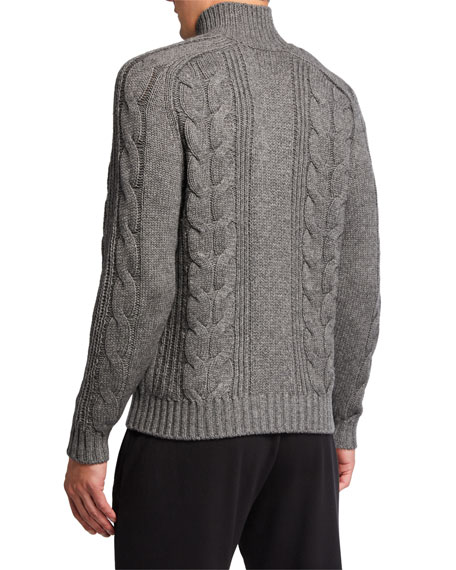 Image 2 of 2: Vince Men's Solid Cable-Knit Turtleneck Sweater