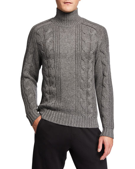 Image 1 of 2: Vince Men's Solid Cable-Knit Turtleneck Sweater