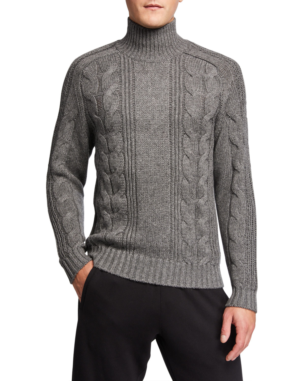 Vince Men's Solid Cable-Knit Turtleneck Sweater