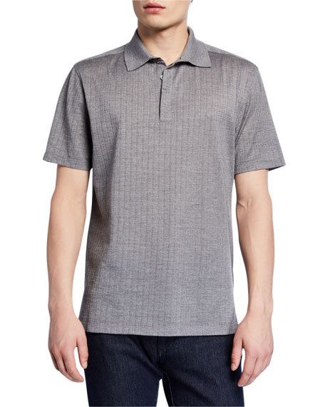 Ermenegildo Zegna Men's Textured Wool-Silk Polo Shirt, Gray