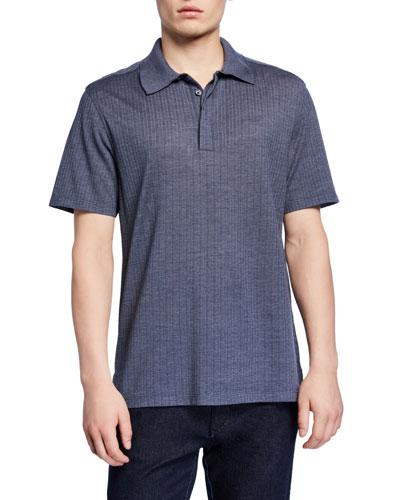 Men's Textured Wool-Silk Polo Shirt, Blue