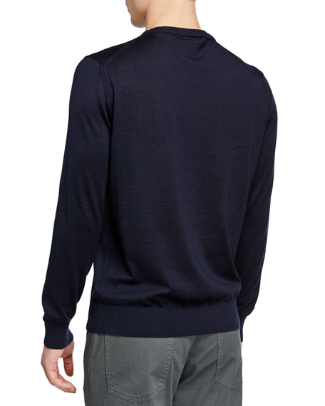 Ermenegildo Zegna Men's Lightweight Cashmere/Silk Sweater, Navy