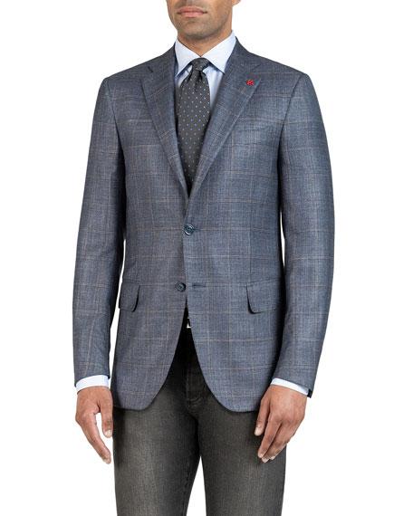 Isaia Men's Silk-Cashmere Windowpane Check Sport Coat