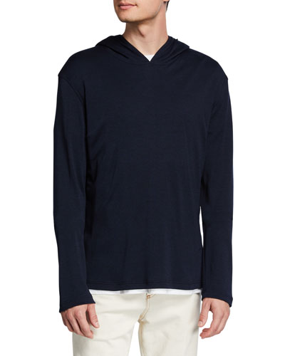 Men's Cashmere-Silk Pullover Hoodie