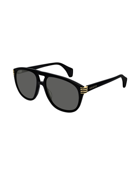 Gucci Men's Round Acetate Sunglasses