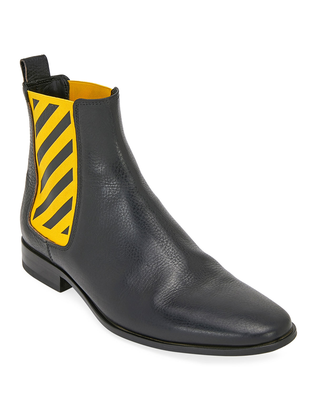 Striped-Gore Leather Chelsea Boot