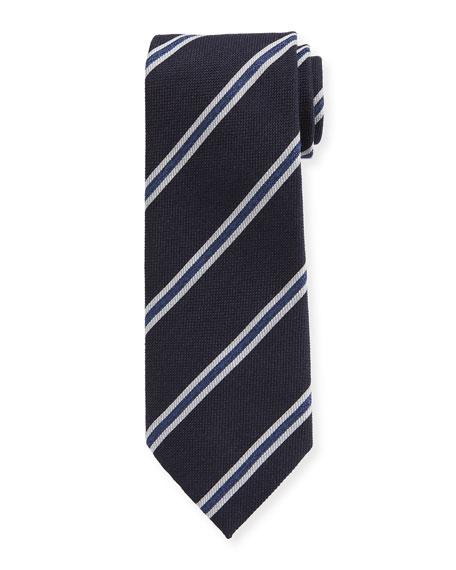 Ermenegildo Zegna Men's Framed-Stripe Tie, Navy