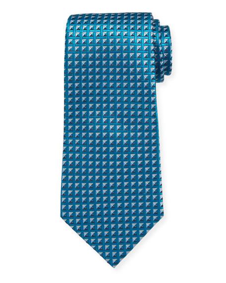 Ermenegildo Zegna Shaded Squares Silk Tie, Teal/Blue