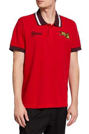 Kenzo Men's Jumping Tiger Polo Shirt with Contrast Detail
