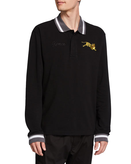 Kenzo Men's Jumping Tiger Long-Sleeve Polo Shirt w/ Stripe Detail