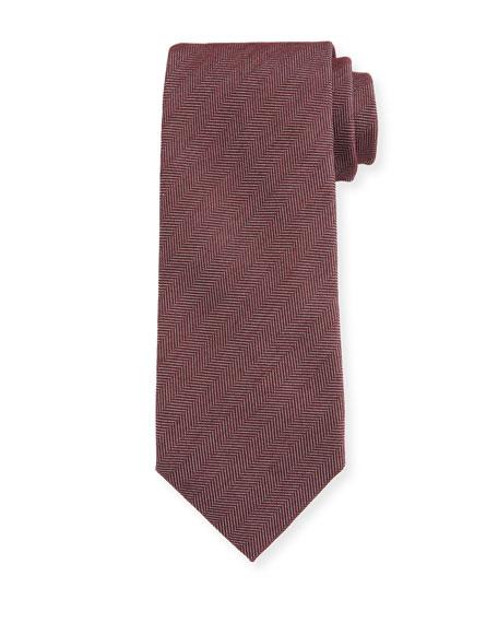 Ermenegildo Zegna Men's Solid Herringbone Tie, Red