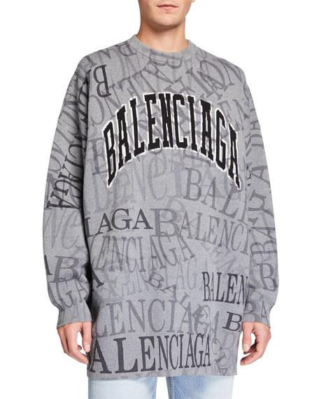 Balenciaga Men's Oversized Logo Typographic Sweater