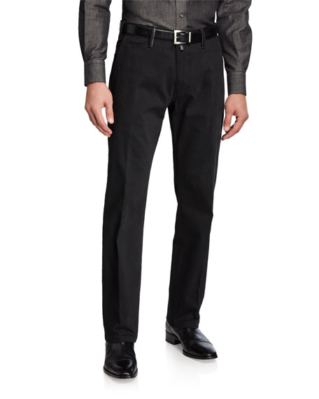 Stefano Ricci Men's Casual Cotton Trousers with Leather Detail