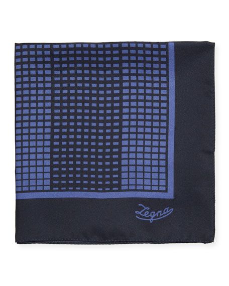 Ermenegildo Zegna Grid Check Silk Pocket Square, Blue