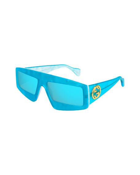 Gucci Men's Wide Two-Tone Transparent Sunglasses