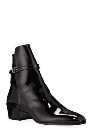 Saint Laurent Men's Clementi 40 Buckle-Strap Patent Leather Boots