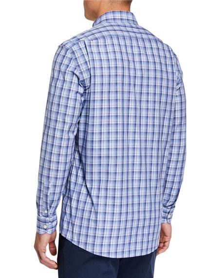 Ermenegildo Zegna Men's Cento Quaranta Plaid Sport Shirt, Blue