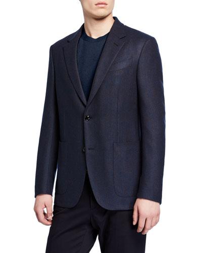 Men's Textured Cashmere Patch-Pocket Two-Button Jacket
