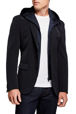 BOSS Men's Slim-Fit Technical Sport Jacket with Bib Hood