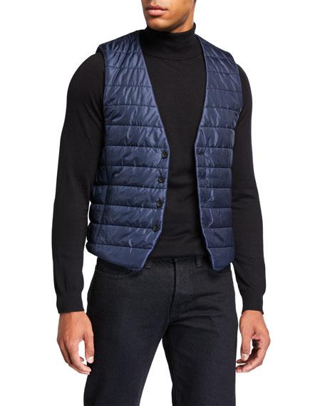 BOSS Men's Body Warmer Button-Front Vest, Navy
