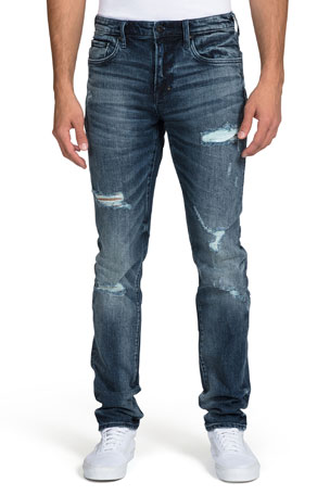 straight rock star Mens white jeans g skinny slim fit designer Blue stripe