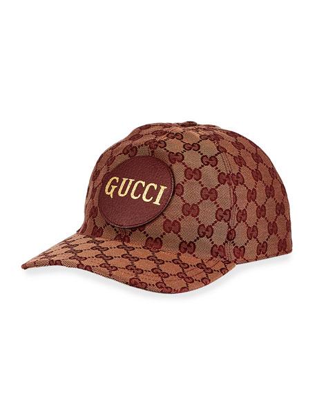 Gucci Men's Zeno Leather-Patch GG Canvas Baseball Cap