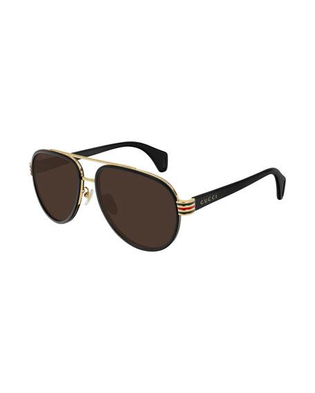 Gucci Men's Web-Stripe Aviator Sunglasses
