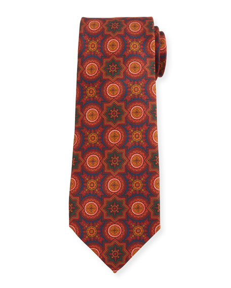 Petronius 1926 Men's Medallion-Print Silk Tie