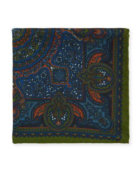 Petronius 1926 Men's Floral Paisley Silk Pocket Square